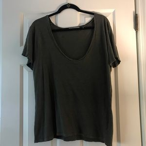 Green Scoop Neck/Off the Shoulder Short Sleeve